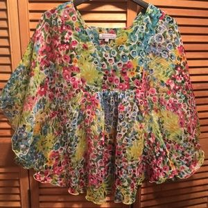 World Market Colorful Floral Print Top